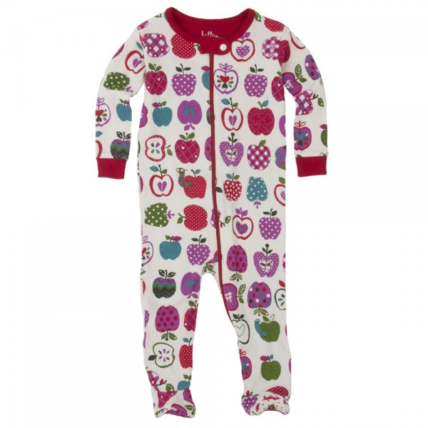 Pijama con pie estampado manzanas