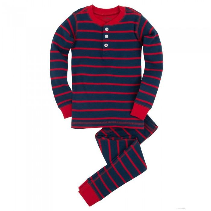 Pijama dos piezas rayas azul y rojo
