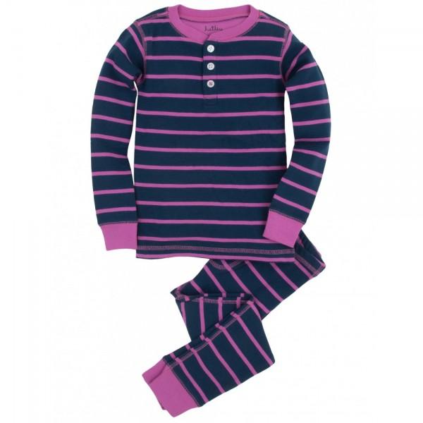 Pijama dos piezas rayas azul y rosa