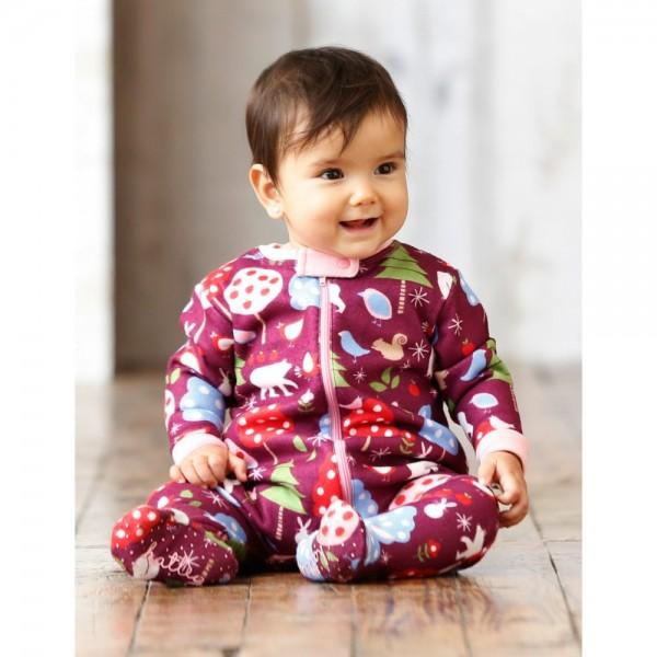 Pijama con pie de forro polar animales del bosque