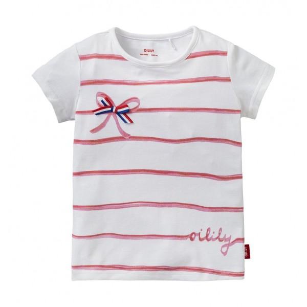 Camiseta rayas rojas con lazo de tela