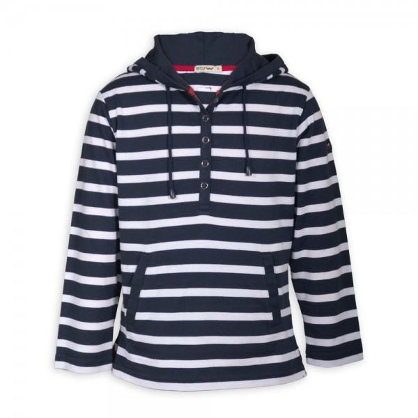 Camiseta marinera con capucha Marino/Blanco