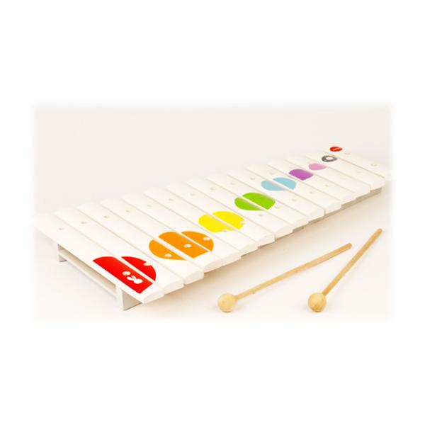 Xilófono de madera blanco confeti