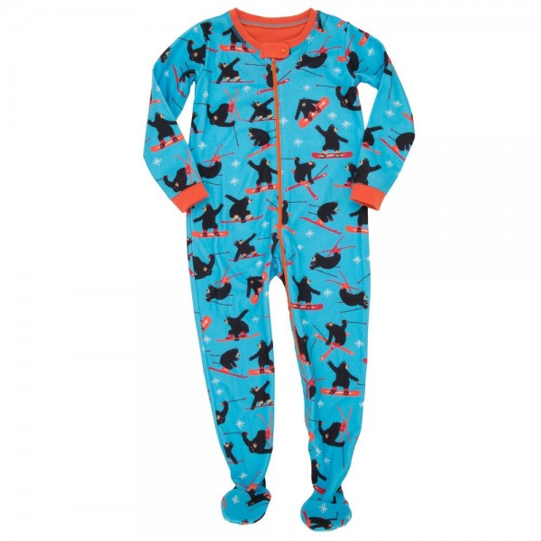 Pijama con pie de forro polar osos esquiando